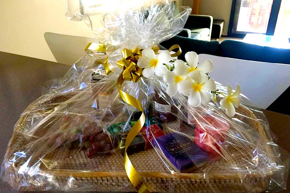 Gift baskets and other goodies await your arrival